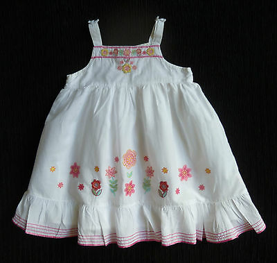 Baby clothes GIRL 12-18m Matalan white special occasion floral embroidery dress
