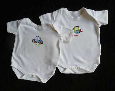 Baby clothes BOY newborn 0-1m Matalan digger/car 2 white bodysuits SEE MY SHOP!