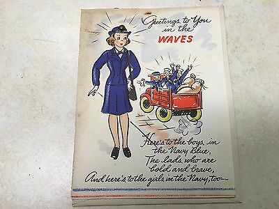 WW2 Greetings to you in the WAVES Greeting Card NOS
