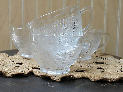 Antique Anchor Hocking Clear Sandwich Glass Punch Cups - Lovely 4 Piece Set