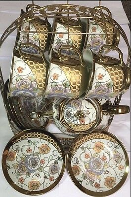 New 13Pc China Tea Set  Gold With Country Rose Flower Print/ Display Stand
