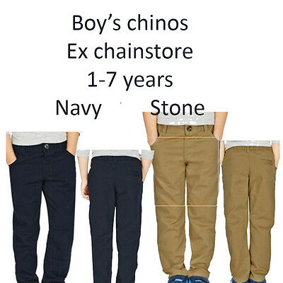 Boys Chinos New 100% Cotton Ex Chainstore Navy And Stone 3 months Till 6 years