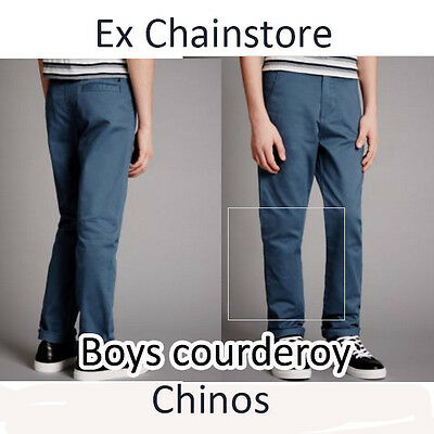 Boys cord chino trousers ex m*s, autograph, 5-14 years navy and grey