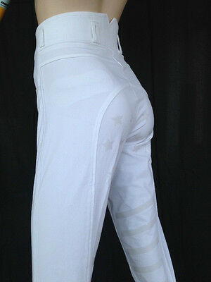Ladies Jodhpurs White Breeches Full Seat Silicone Print Lycra Sock *Small sizing