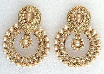 Designer Indian Gold Pearls Traditional Bridal Wedding Party Jewellery Earrings