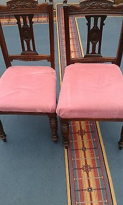 PAIR ANTIQUE DINING CHAIRS. Mahogany.Re-Upholstered.Early 20th C. h 36""