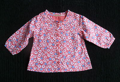 Baby clothes GIRL 6-9m NEW M&S lightweight cotton pink floral long sleeve blouse