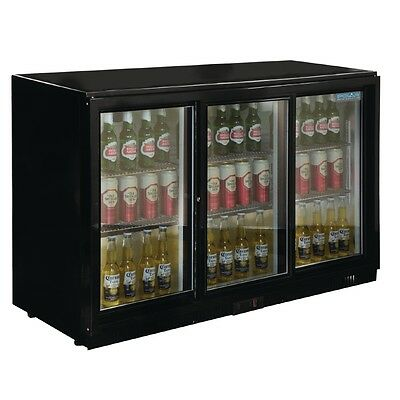 Polar Triple Sliding Door Back Bar Cooler - Black with LED Lighting 330Ltr GL006