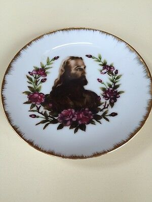 """Vintage  Originals Japan Plate With Jesus and Gold Trim 6 1/4"""" Across"""