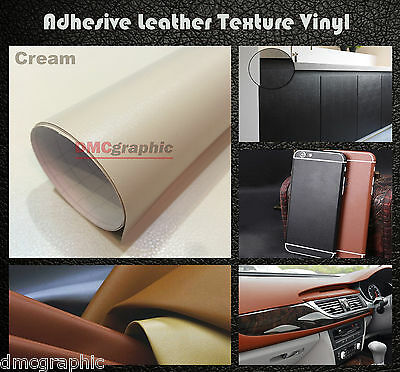 35x152cm Cream Leather Texture Adhesive Car Furniture Vinyl Wrap Film Sticker