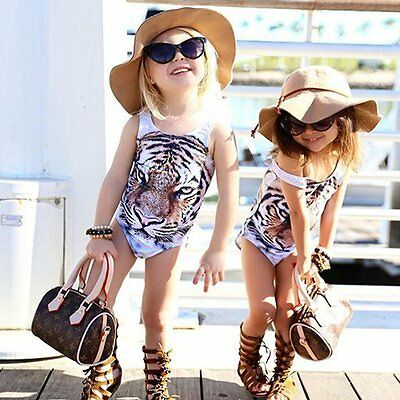 Toddler Kids Baby Girls Tiger Swimsuit Bikini Swimwear Beach Bathing Suit 1-6Y
