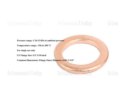"""US Copper Gaskets Size3-3/8"""" CF50 Flange Fitting Parts for 3.375""""CF Vacuum Pump"""