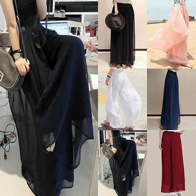 New Plus Size Womens Chiffon Casual Ladies Wide Leg Palazzo Trousers Pants