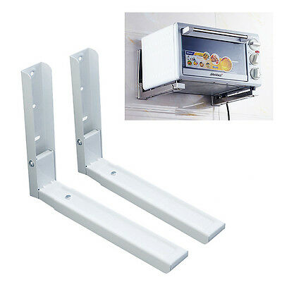 2 x White Microwave Wall Mounting Holder Brackets With Extendable Arms UK