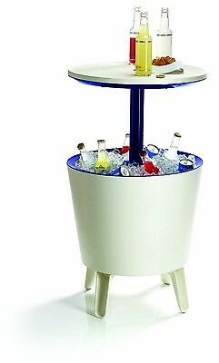Keter Coolbar Cool Bar Drinks Cooler Party & Coffee Table Ice Bucket White NEW