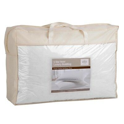 New Duck Feather and Down Pillows X 2 White Cotton Hypo-allergenic Casing