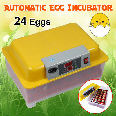 24 Egg Incubator Fully Automatic Digital LCD Chicken Duck Quail Eggs Poultry New