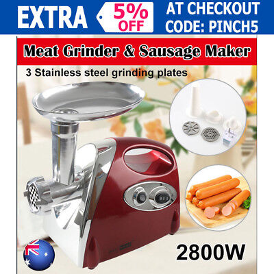 Electric Meat Grinder & Sausage Maker Mincer Stuffer Filler Kibbe Kitchen 2800W