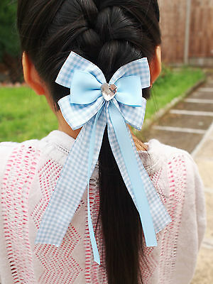 BACK TO SCHOOL Girl Kids Children Hair Accessories Ribbon Bow With Tails Bobble