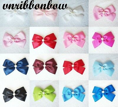 Handmade Girl Kid Hair Accessories Large 5 inches 4 Wings Ribbon Bow Bobble Clip