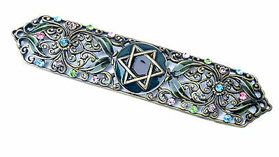 Green metal Enameled Jeweled case Mezuzah w Crystal stones Jewish Judaica L-5.6""
