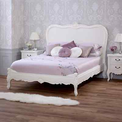 French Chateau 5ft King Size White Painted Low Foot Bed - Furniture SAN77-W5