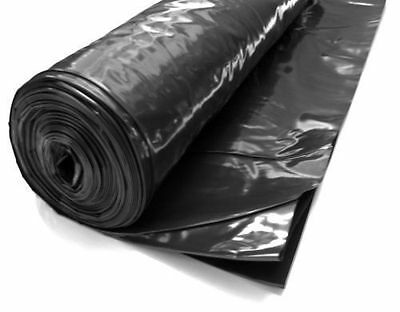 Heavy Duty Black Polythene Plastic Sheeting 4M Wide DPM Rolls 250Mu,1000 Gauge