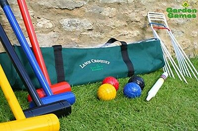 Traditional English Croquet Game 4 Player Lawn Croquet Set Long Mallets With Bag