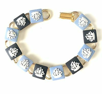Authentic Wedgwood Cameos on Gold Plate Bracelet - Ships on Blue & Black