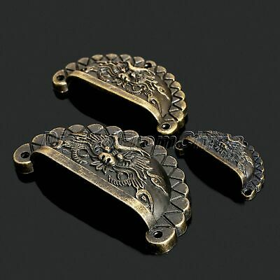 4X Vintage Bronze Chinese Dragon Shell Type Dresser Drawer Pull Handle Knob Deco