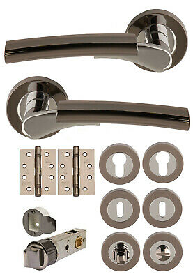 Dual Black Nickel/ Chrome Lever on Rose Door Handles +Accessories/Latches ULTIMO