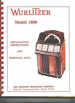 Wurlitzer 1800 Jukebox Service & Parts Manual