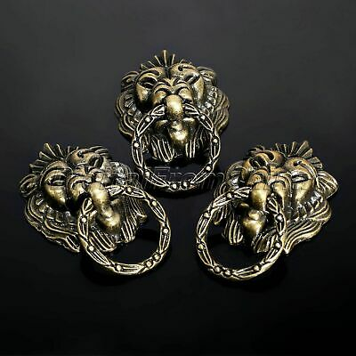 6Pcs Vintage Brass Lion Head Cabinet Dresser Drawer Pulls Door Knobs Handles