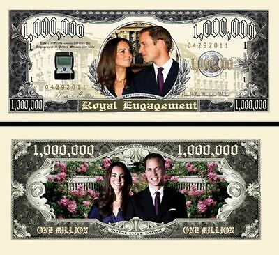 2 Notes Kate & William Engagement Million $ Novelty Notes
