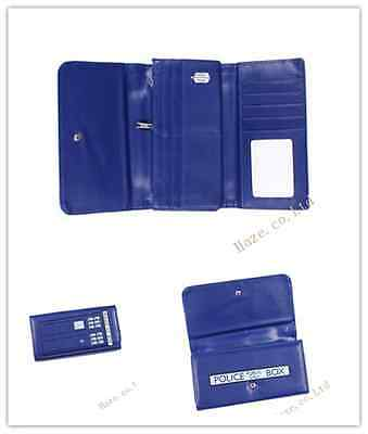 Doctor Who Tardis Dr Wallet Blue Trifold Clutch Long Purse Embossed Flap