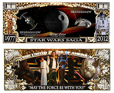 "2 Notes Star Wars Saga "" May The Force Be With You"" Novelty Million Dollar Notes"