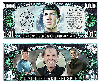 2 Notes Leonard Nimoy Novelty Million Dollar Notes