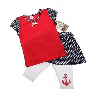 Girls 3 Piece cotton T-Shirt, Skirt & Leggings set - Anchor age 1 to 4 years