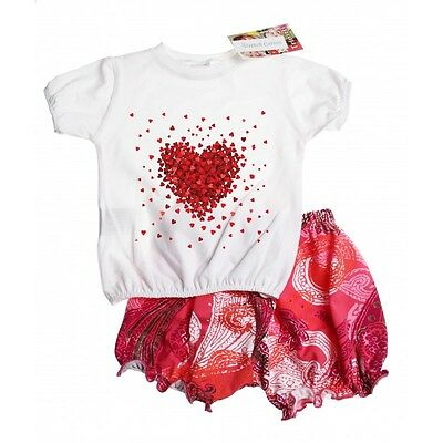 Girls Summer Cotton Shorts and T-Shirt Set - Heart age 1 years up to 4 years