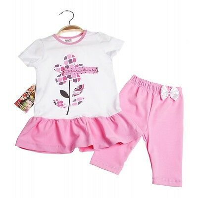 Girls Summer T-shirt/Tunic and Leggings Set - Flower age 1 years up to 4 years