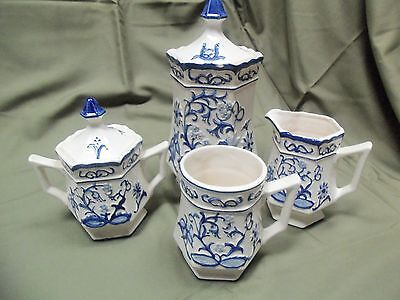 Vintage Japan Blue / White Raised BLUE ONION Coffee Service Sugar Creamer & More