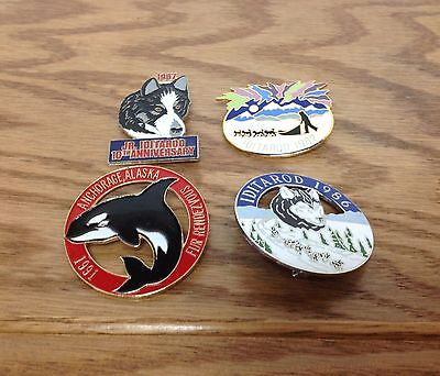 Lot of 4 ~ Iditarod Dog Sled Race PIN Collection 1986 1991 1987 10th Anniversary