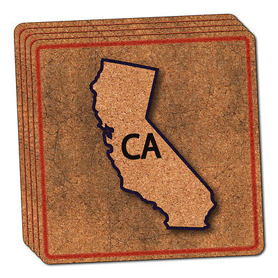 California CA State Outline on Faded Blue Thin Cork Coaster Set of 4