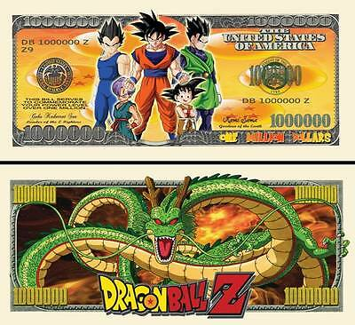 2 Notes Dragon Ball Z Novelty Million Dollar Notes