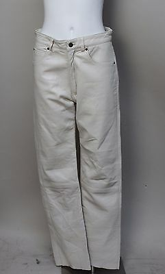 Vintage Womens Anaum Cream Leather Motorcycle Pants