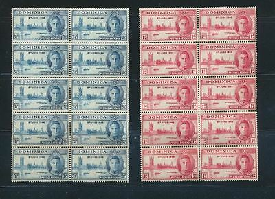 Dominica 1946 Peace Set Mint NH Complete WHOLESALE LOT of 10 Sets #112 - 113