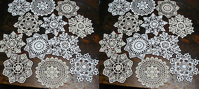 "lot of 24 Hand Crochet Doilies 7"" White & Natural Vintage Wedding Tea Party NEW"