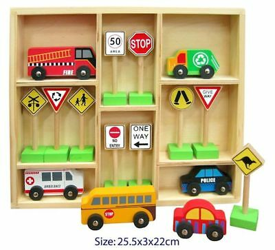Wooden Cars and Australian Traffic Sign Set, Toy Road Signs