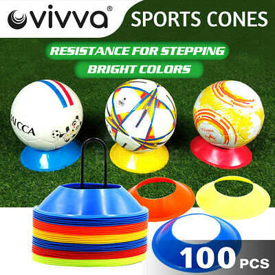 New 100 Sports Training Discs Markers Cones Soccer Afl Exercise Personal Fitness