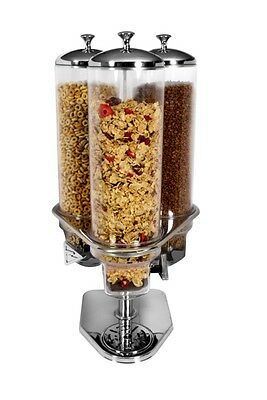 Hotel B&B Triple Cereal Dispenser 3 x 4 litres ideal for Breakfast Buffet Bars.